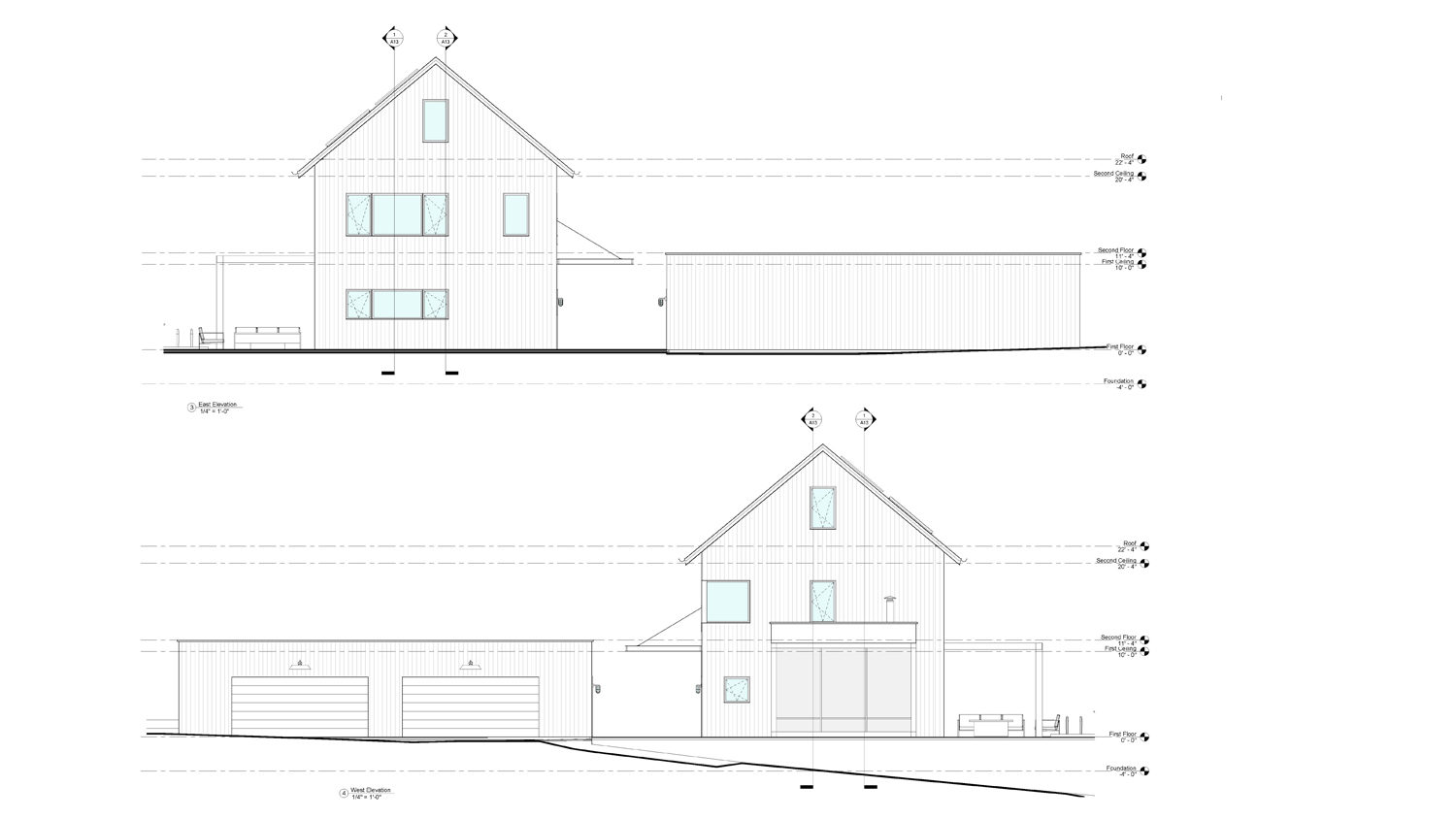 Modern Barn West And East Elevations