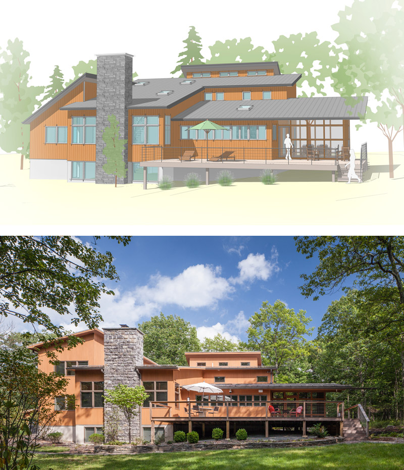 rendering and photo of home